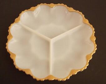 Vintage Gold Leaf Milkglass Relish Tray