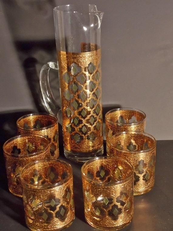 Vintage valencia culver set of gold leaf by thevintagepicker - Vintage valencia ...