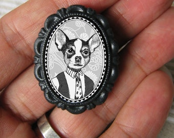 chihuahua boy brooch - victorian style pin - black and white portrait