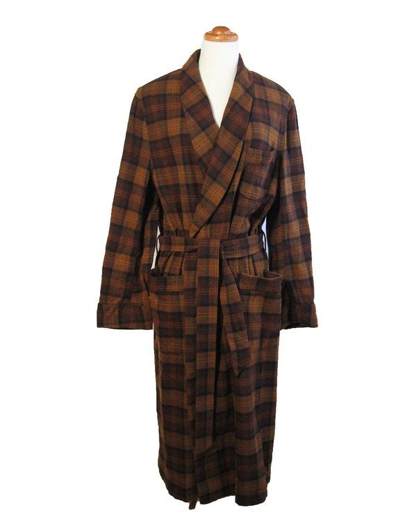 1960s Mens Pendleton Vintage Wool Plaid Robe Patch Pockets