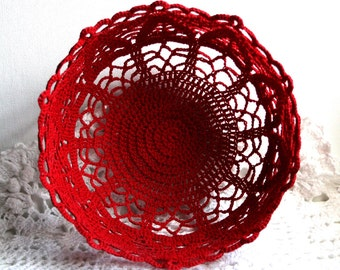 Red Crocheted Lacy Sturdy Bowl