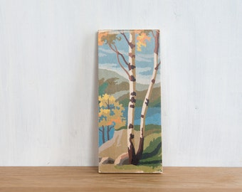Paint by Number Art Block 'Birch Trees' - vintage, trees, landscape, lakeview