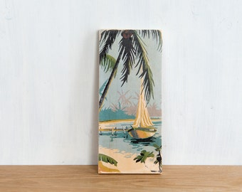 Paint by Number Art Block 'Tropical Sailboat' - vintage, palm trees, ocean, beach