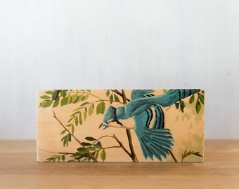 Paint by Number Art Block 'Blue Jay' Horizontal - bird, branches, vintage art