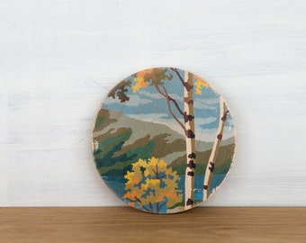 Paint by Number Circle Art Block 'Autumn Birches' - woodland, landscape, vintage art, wall decor