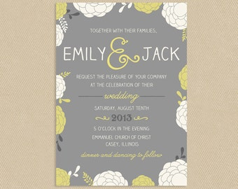 Printable Wedding Invitation Fun Floral 5x7 Yellow and Greys - Colors Can Be Changed