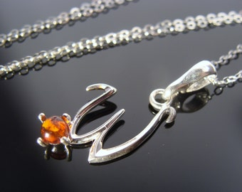 Baltic Amber 925 Sterling Silver W Pendant Necklace