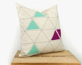 Hand printed decorative pillow cover - Triangle design in mint green, raspberry, dark grey and cream - Pillow Case, 16x16 inches / 40x40 cm