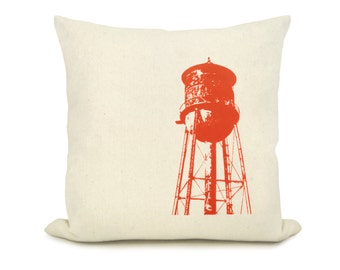 Personalized Old Water Tower Pillow Case | Urban Masculine Cushion Cover | Industrial  Decor | Custom Ink Color, Fabric, 12x18 or 16x16
