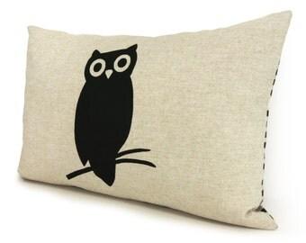 Owl decorative lumbar pillow - Woodland Decor - 12x18 bird pillow case, cushion cover in black, beige and geometric Greek key accent