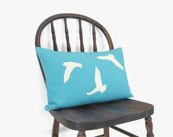SALE / Flock of birds outdoor pillow case in aquamarine & white / Aqua Blue patio garden decorations / 12x18 Decorative lumbar cushion cover