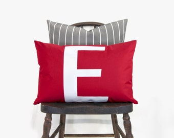 SALE || Red Outdoor Pillow Cover, Monogram Typography Initial Pillow Case in Red & White | Modern E Letter | 12x18 Lumbar Cushion Cover