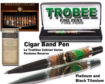 Handmade Cigar Pen - Cigar Smokers Gift - Custom Handcrafted Pen - Top Rated Ballpoint  - La Tradicion Perdomo Reserve Limited Golf Edition