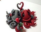 RESERVED for Elaine - Custom Octopus Hug - Handmade Wedding Cake Topper
