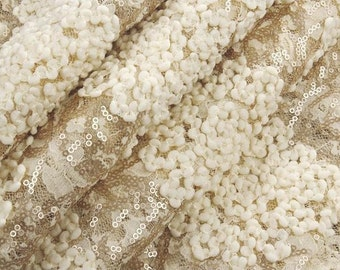 """Beige Lace Fabric 3D Crocheted Flower Gold Sequined Lace Fabric Wedding Gown Lace Embroidered Florals Fabric 53"""" Wide"""