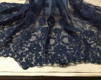 Black Cotton Aulic Embroidered Lace Fabic 15.7 Inches Wide 1 yard