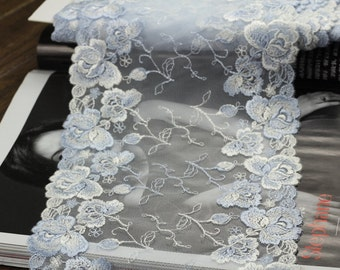 2 Yards Light Bule Tulle Lace Trim Light Purple Rose Double Edges Embroidered Lace 6.29 Inches Wide
