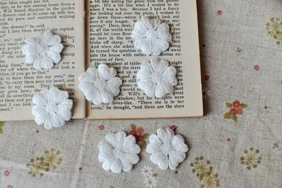 10pcs White Cotton Flowers For Headwear Decor Fashion Costume Doll dress Decor