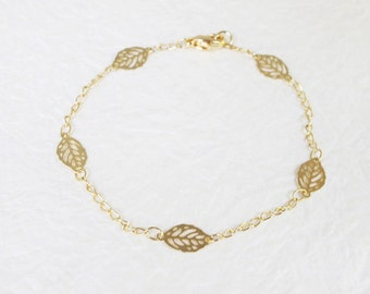 Simple Gold leaf bracelet - S3104-2