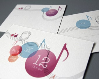 "Music themed Wedding invitation set / Printable DIY suite / ""Do - Re - Me & You"""