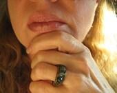 Moss Agate Herringbone Ring  /  Prosperity