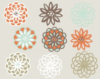 Flower clip art images, royalty free images - robin- Instant Download