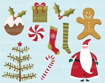 Christmas clip art images, Christmas clipart, Santa clip art,  Royalty free clip art- Instant Download
