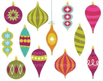 Items similar to Christmas Ornament Clip Art Star Baubles Vintage ...