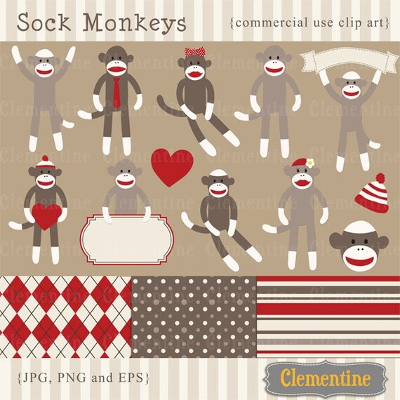 Sock monkey clip art images,  sock monkey clipart, sock monkey vector, royalty free clip art- Instant Download