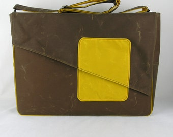 Waxed canvas Diaper Bag, Heavy Canvas Diaper Bag in Brown and Yellow