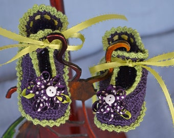Purple and Lime Green Crochet Booties 16012-G