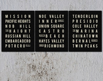 Subway Sign. SAN FRANCISCO. Typography Print - Mini Collection of 3 - 8x10