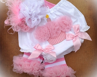 Cake Smash Set -  Birthday Bloomers - Bloomers, Leg Warmers and Bow - 1st Birthday Pictures