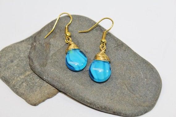 Gold Wire Wrapped Glass Aqua Swirl Teardrop Earrings