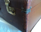 REServED leather suitcase dark brown