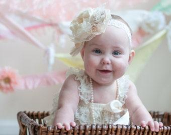 Ivory Baby Girl  Headband, Christening Headband, Baptism, Ivory Flower Headband, Baby Girl Bows, Hairbows, Baby Photo Prop, Toddler Headband