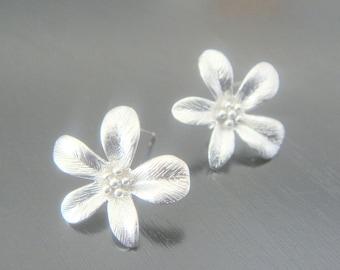 Matte Silver Tarnish Resistant Flower Leaf Sterling Silver Earrings Findings posts, 2 pc, K811218