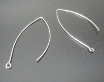 Rhodium Plated Ear Wire linear Hooks fishhooks Earring Findings,  5 pairs, B16315