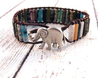 Boho Big Elephant Multi- Color Stone Leather Wrap Bracelet/ Colorful Cylinders/ Boho Eastern Organic Chic/ Free Shipping