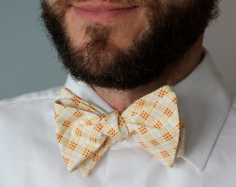 Men's Bow Tie in Yellow and Red Plaid - Self Tying - Freestyle, pre-tied adjustable strap or clip on