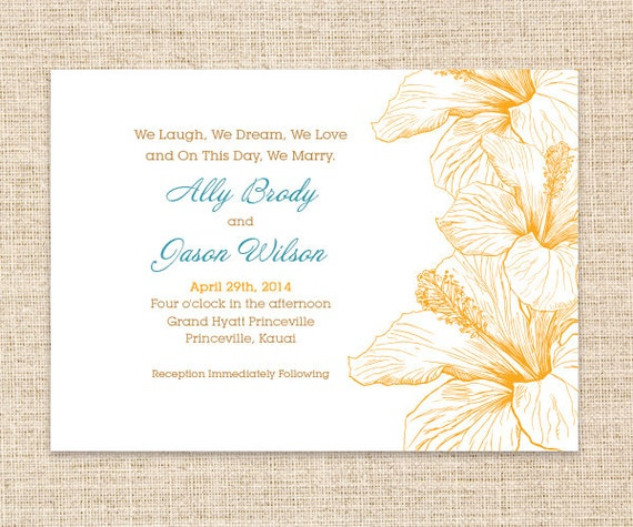 Items similar to Hibiscus Hawaiian Wedding Invitation and RSVP Set