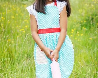 Apron For Girls, Organic Cotton, Vintage 30's Style Apron,  Aqua Circles, Red Polka Dots, Toddler, Kids sizes