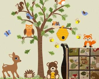 Children Wall Decal Forest Friends Honey Bear Tree Decal Fox Deer Bee Woodland OHSC