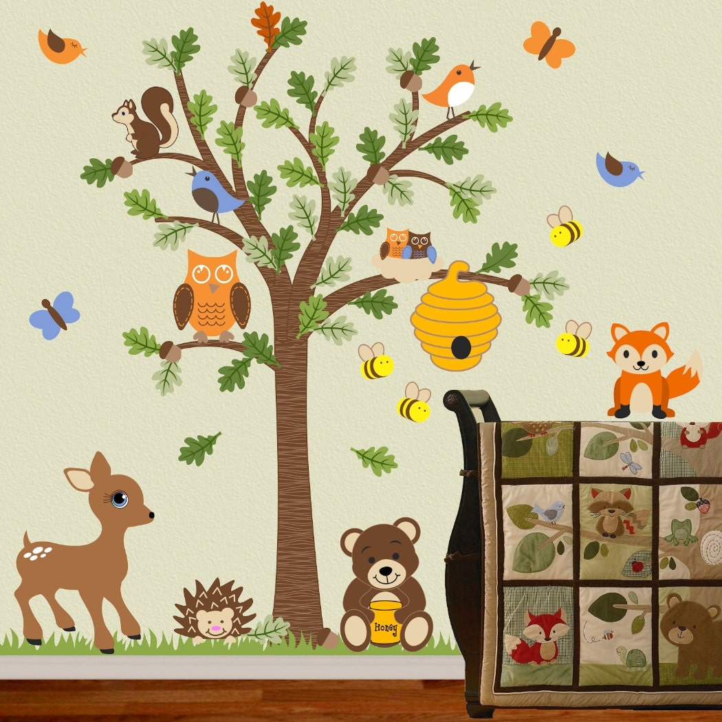 children wall decal forest friends honey bear tree decal fox. Black Bedroom Furniture Sets. Home Design Ideas