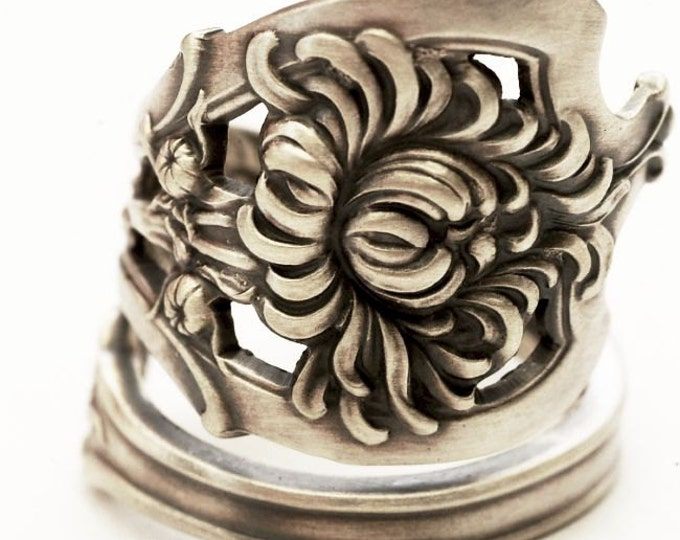 Chrysanthemum Ring, Watson Sterling Silver Spoon Ring, Mums Flower Jewelry, Silver Flower Ring, November Birth Flower, Adjustable Ring, 6612