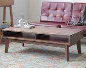 Mid-Century Solid Walnut Coffee Table - Ventura Surround Table