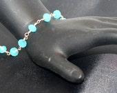 Sterling silver, blue Braztlian aquamarine faceted gemstone bracelet