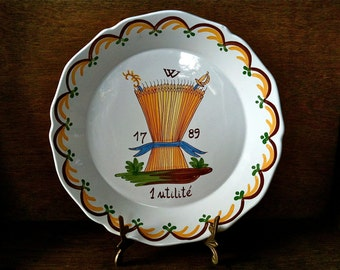 Vintage French 1789 painted dinner lunch plate circa 1950's / English Shop