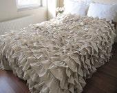 Oatmeal beige Waterfall Ruffled Bedding - Queen bedspread - coverlet blanket Linen-Shabby chic country bedding- Turkish  Buldan fabric - nurdanceyiz