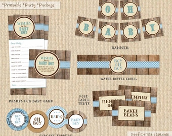 Baby Boy BBQ Digital Party Package - Printable Baby Shower Party Package